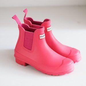Hunter Bright Pink Short Rubber Rain Booties